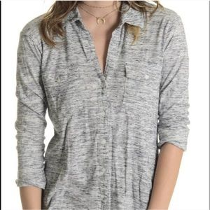 James Perse Knit Button Down Long Sleeve Top Gray